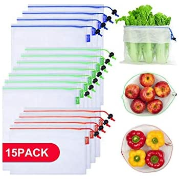 Reusable Produce Bags 15 Pcs, Barcode Scannable, Washable and See-Through Extra Strong Mesh Bags for Grocery Shopping, with Colorful Tare Weight Tags