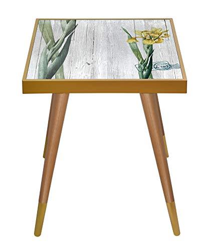Inbox - Mesa auxiliar cuadrada de madera impresa en la parte superior, Madera de diseño, Carta, Height 55 cm