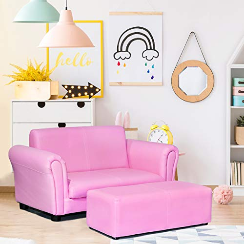 Costzon Children Sofa with Footstool, Upholstered Couch, Sturdy Wood Construction, 2 Seat Armrest Chair Lounge for Preschool Kids Toddlers Boys & Girls, ASTM and CPSIA Certified (Pink)