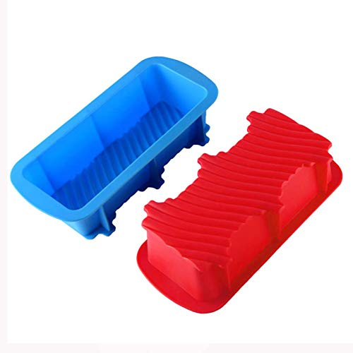 WOPODI 2 Pieces Silicone Loaf Pan Bread Baking Pans, Non Stick Baking Tray Rectangle Cake Bakeware for Homemade Cakes, Breads, Meatloaf and Quiche (Random Color)