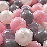 KiddyMoon 100 ∅ 7Cm Bolas Colores De Plástico para Piscina Certificadas para Niños, Perla/Gris/Transparente/Rosa Claro