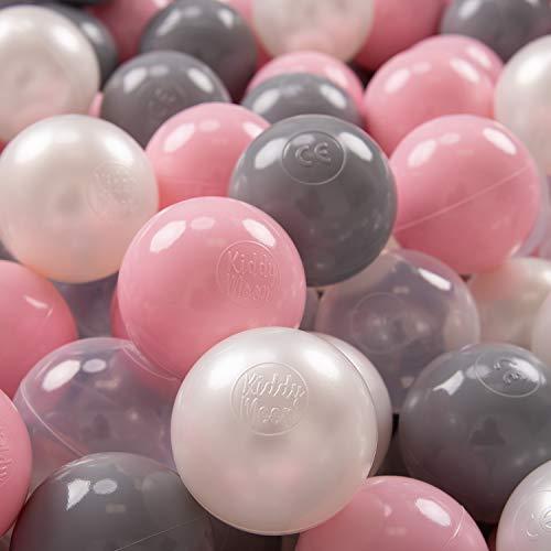 KiddyMoon 100 ∅ 7Cm Bolas Colores De Plástico Para Piscina Certificadas Para Niños, Perla Gris Transparente Rosa Claro