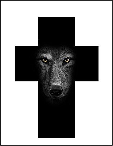 【十字架とオオカミ】 余白部分にオリジナルメッセージお入れします!ポストカード・はがき(白背景)