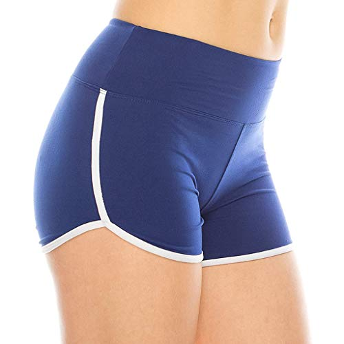 HULKY Damen Sport Fitness Lauftraining Volleyball Elastische Yoga Shorts, Leggings Damen Sommer Stretch Hohe Taille Aktive Hüftlift Shorts Kurze Hose(Blau,L)