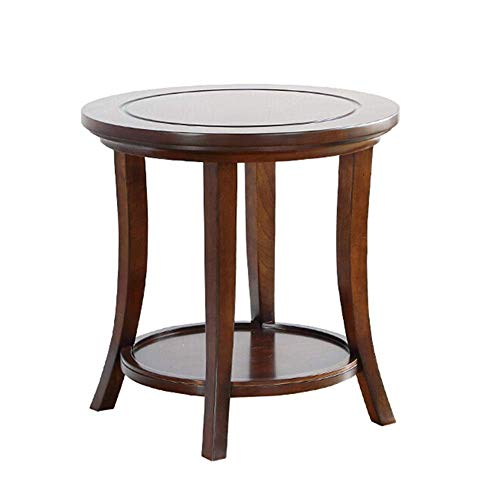 LILICEN LYJ Coffee Table Retro Round Side Table Nightstand Round End Table Accent Coffee Table For Living Room Bedroom Balcony Office Sofa Side End Table (Color : Brown, Size : 60X60X61CM)