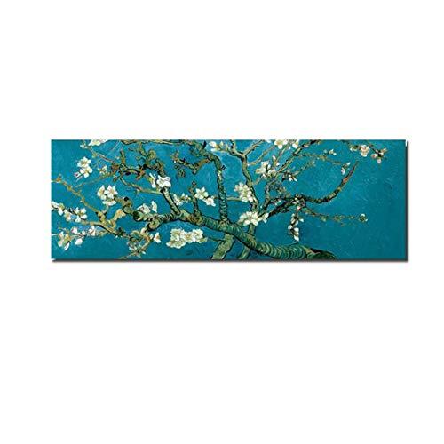Cuadro en lienzo Flor de almendro Imágenes impresionistas clásicas Pintura moderna para la decoración del hogar Para carteles de la sala de estar 40x120cm (15.7