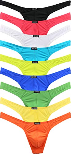 iKingsky Men's Thong Underwear Sexy Low Rise T-Back Under Panties (Medium, 9 Pack)