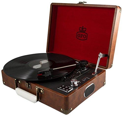 GPO Attache aktetas stijl drie snelheden draagbare platenspeler met ingebouwde stereo-luidsprekers en gratis USB-stick direct digitale omzetting van vinyl bruin