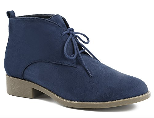 MaxMuxun Women Shoes Faux Suede Lace-up Booties Ankle Desert Boots (38 EU/7 US, Blue)