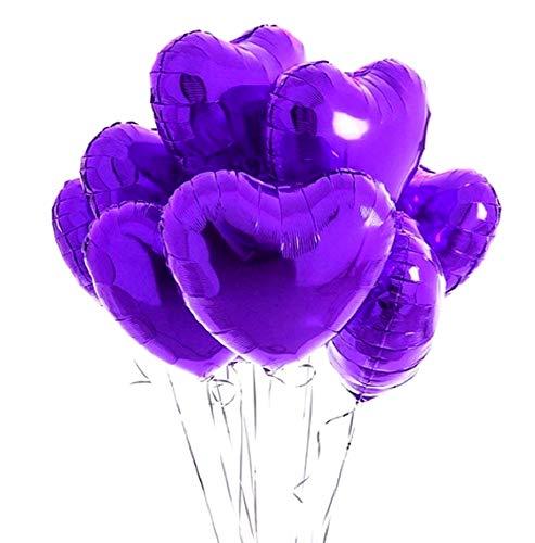 Lovelegis 10 Globos de corazón - púrpura - 46 x 43 cm - día de San valentín - cumpleaños - año Nuevo - Fiesta - Decoraciones - Novia - Novio - Idea de Regalo para Navidad