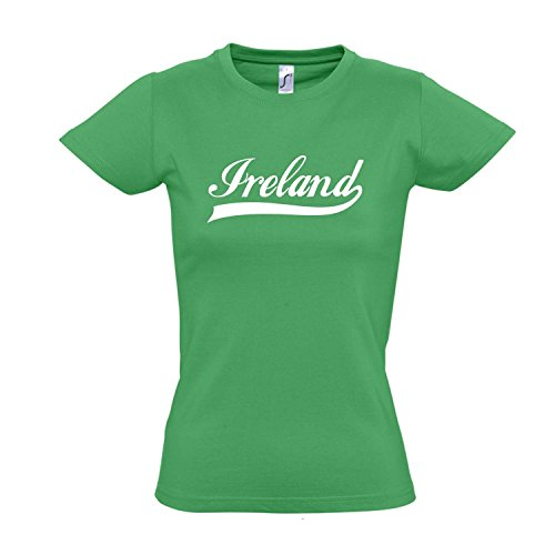 Damen T-Shirt - Irland Oldschool Ireland LÄNDERSHIRT EM/WM Fan Trikot S-XXL, Kelly Green - weiß, XL