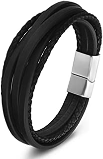 Fashion Stainless Steel Chain Genuine Leather bracelet Men Vintage Male Braid Jewelry for women