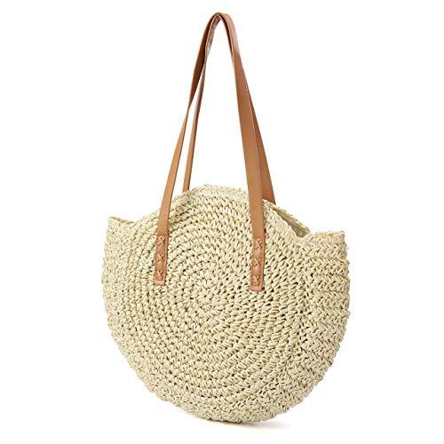 CHIC DIARY Sac en paille pour femme, sac à bandoulière, sac à bandoulière, sac à provisions, beige (Beige) - QQDE1547