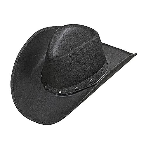 WIDMANN 01101Sombrero de Cowboy con Remaches para Adultos, Color Negro (Juguete)