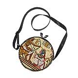 Ahomy Borsa a tracolla egiziana Papyrus alla moda per bambini ragazze rotondo borsa a spalla borse