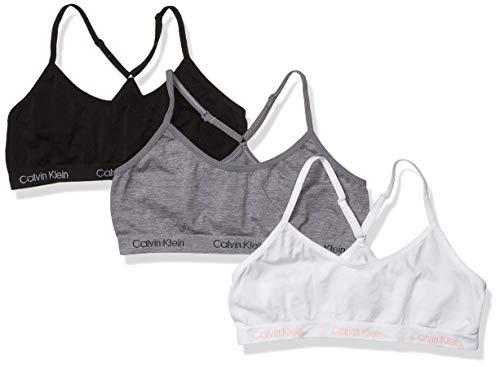 Calvin Klein Girls' Little Seamless Racerback Crop Bralette, Multipack, 3 Pack - Heather Grey, White, Black, L
