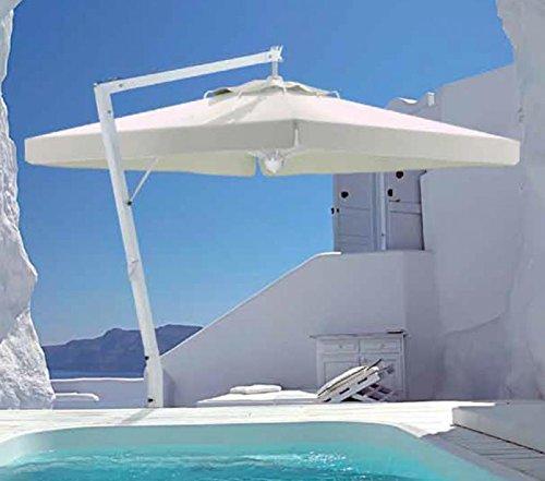 Parasol déporté - Rimini Braccio Rectangle 3x4m Acrylique Dralon 350g/m2 Blanc A7 Sans volants