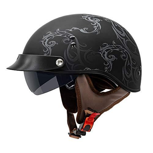 VCAN Cruiser Solid Flat Black Half Face Motorcycle Helmet with Drop-Down Sun Visor, Removable Peak...