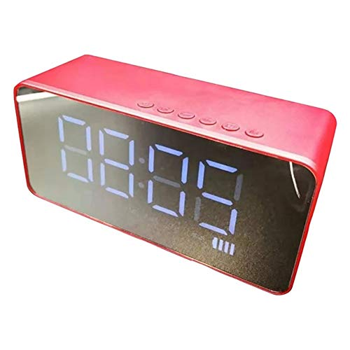 XYBB wekker Bluetooth-luidspreker met alarminstelling spiegelen, super bas draadloze stereo-wekker met radio-ondersteuning