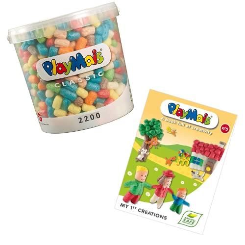 PlayMais Basic 2200 Bastelset für Kinder ab 3 Jahren + Bastelbuch | Basteleimer mit über 2200 Stück zum Basteln | Natürliches Spielzeug | Fördert Kreativität & Motorik | Geschenk für Mädchen &...
