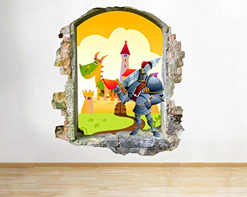 SJXWOL Sticker Dessin animéKnight Castle Dragon Nursery Stickers muraux Sticker Mural Chambre d'enfants 3D 55x60cm