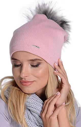 Unbekant Gorro de punto para mujer con pompón de pelo sintético, para otoño e invierno, color rosa
