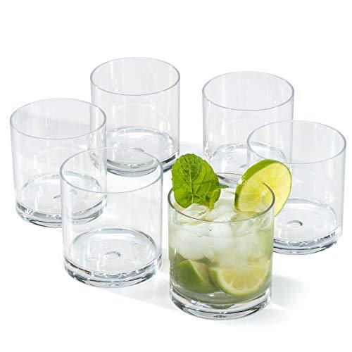 Vasos de Whisky ron Plástico duro Premium reutilizables policarbonato cristal copas irrompibles...