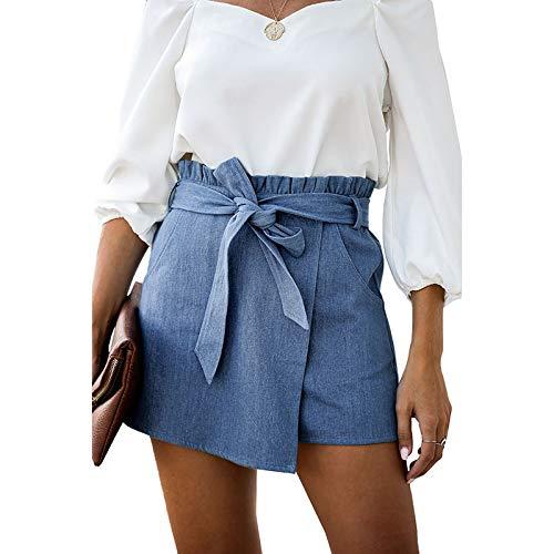 Pantalones Cortos para Mujer Color Puro Moda Simple con Volantes Cintura Alta Tendencia Todo-fósforo Streetwear Falda Informal Pantalones con cinturón L
