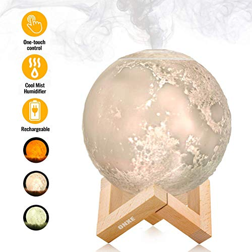 ONXE Humidificador de aire Cool Mist Humidificador de aire 3D lámpara de luna humidificador con luz LED de 3 colores, luz nocturna de dos modos de niebla humidificador de escritorio