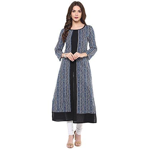 Indian Virasat Women's Cotton Blue Kurta (Ivk373-XXL)