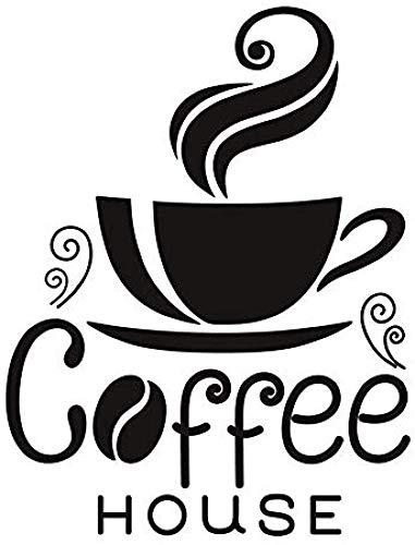 Eine Tasse Dampfende Kaffee Kunst Wandaufkleber Pvc Abnehmbare Wohnkultur Diy Poster Wohnzimmer Cafe Wasserdichte Tapete 58X74Cm