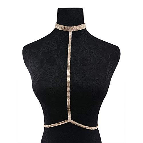gujiu Diamante Sexy Cadena Collar de Verano Bikini Bra Accesorios Playa Partido Cuerpo Joyería (Color : Gold)