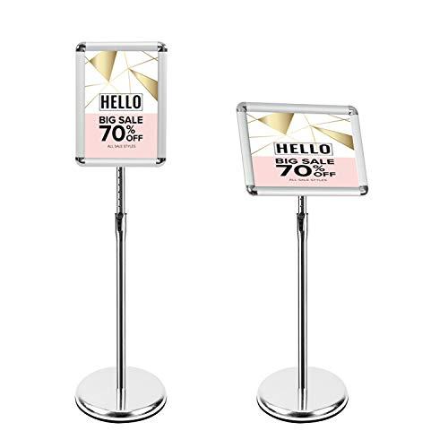Mutualsign Infoständer A4 Aluminium Plakatständer Höhenverstellbar Posterständer Informationsständer Präsentationsständer Werbeständer. (Silber)