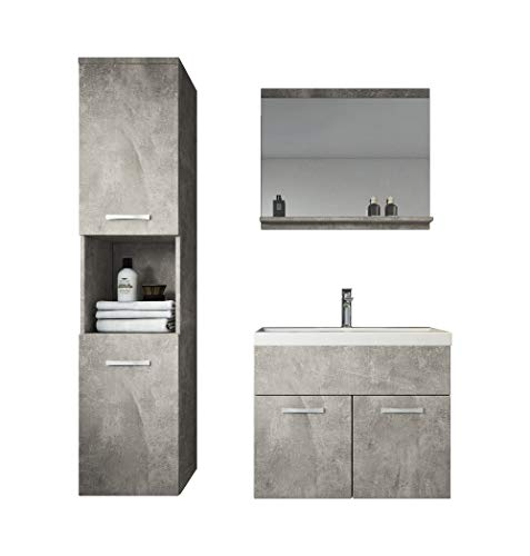 Badezimmer Badmöbel Montreal 60cm Waschbecken - Unterschrank Waschtisch Spiegel Möbel (Beton)