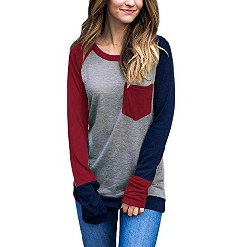 Damen Langarmshirt Baseball Langarm T-Shirt Rundhals Sweatshirt Frauen Patchwork Blusen Top Herbst von Sannysis (M, Rot)