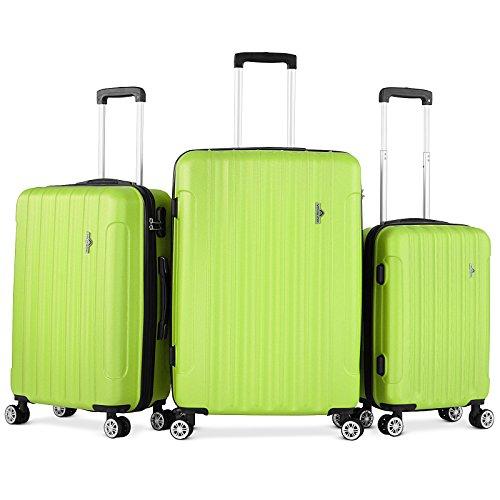 Vojagor Set valigie trolley guscio rigido set da 3 trolley S/M/L colore a scelta (VERDE)