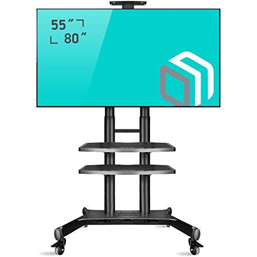 """ONKRON TV Ständer Standfuss 55\""""-80\"""" Zoll kompatibel für die meisten TVs & Bildschirme VESA 200x300-800x500 mm höhenverstell-rollbar TS1881 Schwarz"""