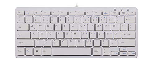 R-Go Kompakte Ergonomische Tastatur - QWERTZ (DE) Natürliche Tastatur mit flacher Oberfläche - Verkabelte USB-tastatur mit kompakte Design - Leichter Tastenanschlag - LED - Weiß