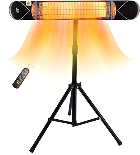 Electric Heater Outdoor – Portable Outside Heater with Stand – 1500W Weatherproof Infrared Heater Indoor/Outdoor by iQ Heat