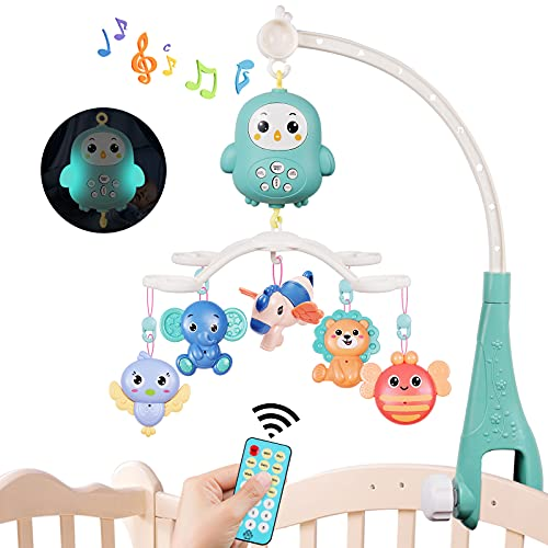 MOOKLIN ROAM Baby Mobile para Cunas, Cuna Móvil con Luz Nocturna y Música,Control Remoto y Momento, Sonajero para Cama Juguete de Cuna para Bebés Recién Nacidos