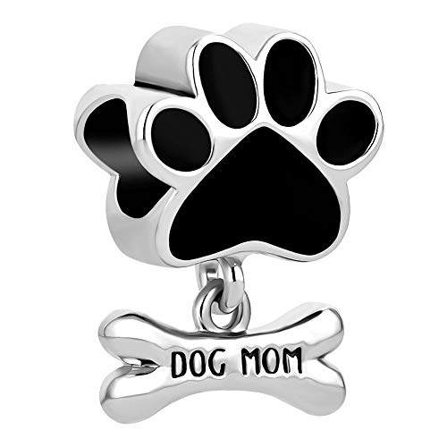 Charmed Craft Dog Mom Charms Dog Bone Paw Prints Charm Beads for Snake Chain Bracelets (Black)