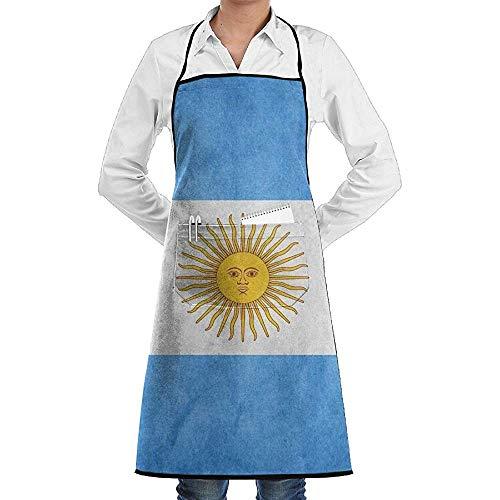 Wthesunshin Retro Argentinië vlag schort lace unisex mannen Womens Chef verstelbare polyester lange volle zwarte keuken schorten slabbetjes met zakken