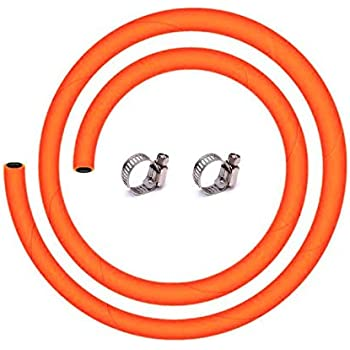 BMB Captain King LPG Gas Pipe with ISI and ISO Certified-2 Meter,Steel Reinforced Rubber Gas Pipe (2M,Orange)-5 Year Warranty