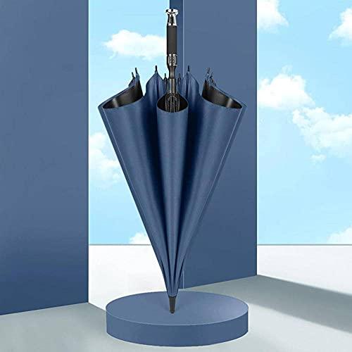 N\C Paraguas de negocios de 36 pulgadas paraguas de 8 costillas anti-fuerte viento automático paraguas reflectante tela negro adhesivo recubierto paraguas mango largo paraguas