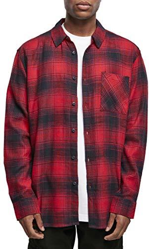 Urban Classics Herren Oversized Checked Grunge Shirt Hemd, Black/red, M