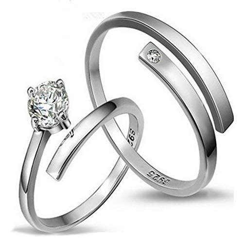 DLIAAN Ringen Opening Paar Bruiloft Ring Vrouw Mode Glanzende Zirkoon Six-Claw Kroon Liefde Live Mond Verstelbare Sieraden Geschenk, 2 Stks