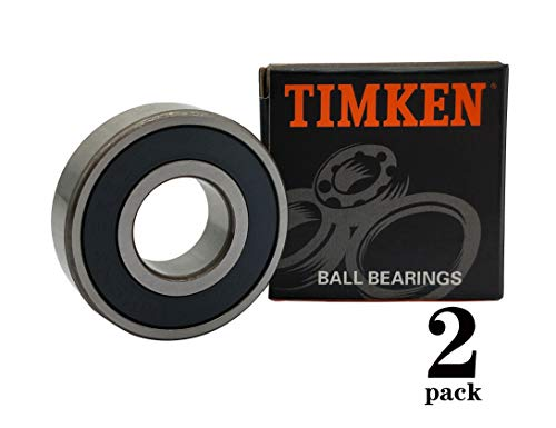 TIMKEN 6203-2RS 2 Pcs Double Rubber Seal Bearings 17x40x12mm, Pre-Lubricated and Stable Performance and Cost Effective, Deep Groove Ball Bearings.