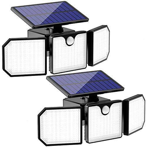 Koicaxy Solarlampen für Außen mit Bewegungsmelder, 230 LED Solarleuchten für Außen, 270° Drehbare LED Solar Strahler, 2200mAh IP65 Solar Bewegungsmelder Aussen für Garten Patio Garag(2 Stück)