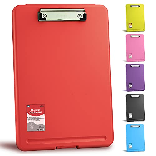 Clipboard Red, Clipboards with Letter Size Compartments Storage Case for Nurse Teachers Plastic Translucent Holds 100 Sheets, Also Available in Purple, Pink, Blue, Green, and Grey (1 PC) -by Enday