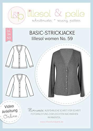 lillesol & pelle Schnittmuster lillesol Women No.59 Basic-Strickjacke in Größe 34-50 zum Nähen mit Foto-Anleitung und Video